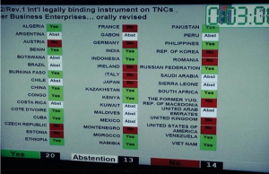 UNHRC Ecuador resolution live voting - 20 yes, 14 no