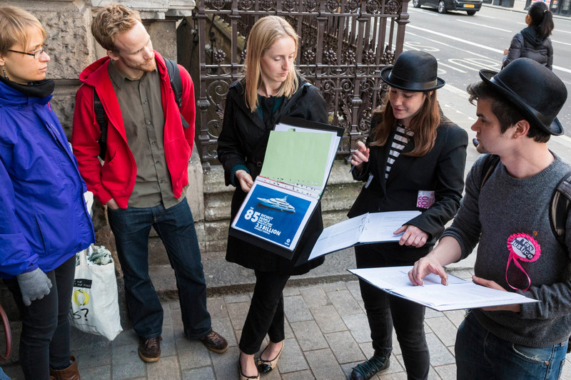 ActionAid campaigners Natasha Adams and Tom Barns are guides for 'Show me the Money - A Tax Treasure Hunt'. This is ActionAid's tax justice walking tour of Mayfair, running from Piccadilly Circus to Bond Street.