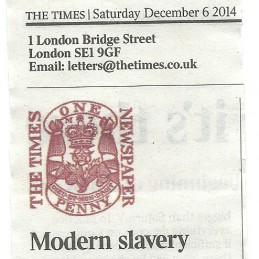 6 Dec 2014: Modern Slavery<br>Lords Letter to the Editor, The Times